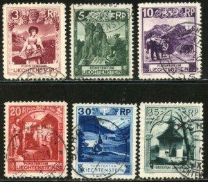LIECHTENSTEIN Sc#94-97, 99-100 1930 Pictorials Part Set Used
