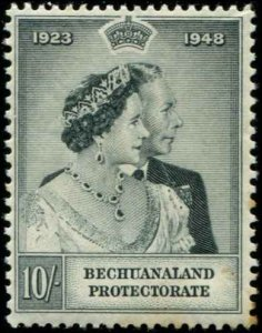 Bechuanaland SC# 148 25th Wedding Anniv. 10sh MH toned perfs on back