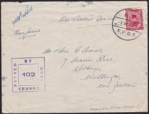NEW ZEALAND FORCES IN EGYPT 1940 censor cover airmail to NZ.................8988