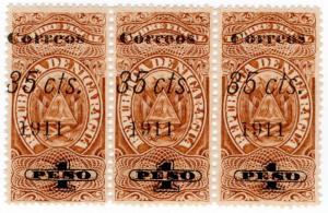 (I.B) Nicaragua Revenue : Duty Stamp 1P (postal 35c OP)