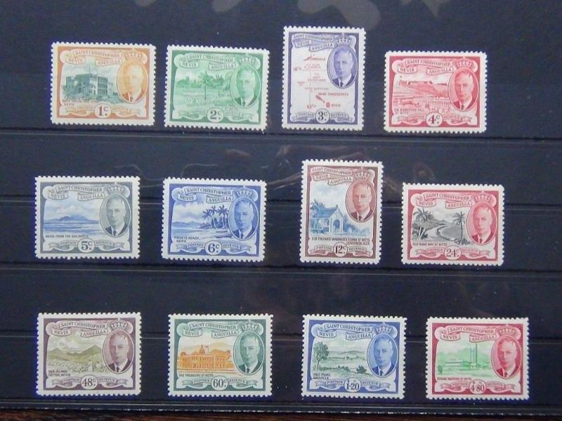 St Kitts Nevis 1952 set compete to $4.80 MNH