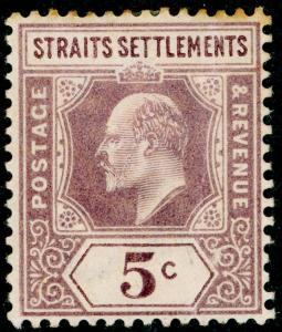 MALAYSIA - Straits Settlements SG113, 5c dull purple, M MINT. WMK CA