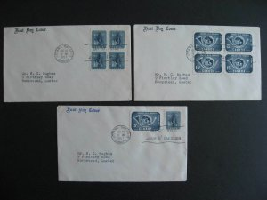 Canada UPU 3 private cachet FDC First day covers Sc 371, 372, blocks, combo