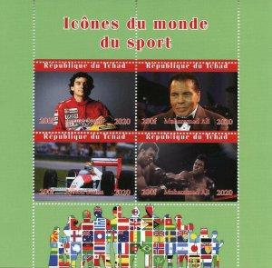 Chad Sports Stamps 2020 CTO Muhammad Ali Boxing Ayrton Senna F1 4v M/S II