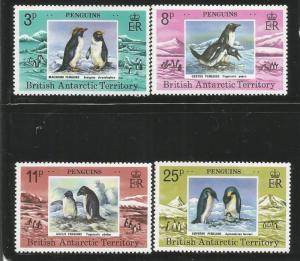 BRITISH ANTARCTIC TERRITORY 72-75, MNH, C/SET OF 4 STAMPS, PENGUINS