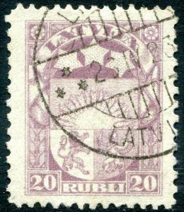 LATVIA-1921 20 r Purple Perf 11½ x 10 Sg 95e FINE USED V30195