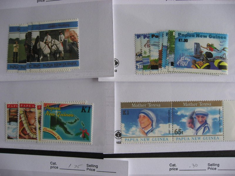 Papua New Guinea 16 different MNH 1995-2000 era sets in sales cards,very topical