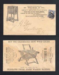OHIO: Wapakoneta 1890's M. Brown BENT WOOD CHURNS Advertising