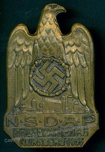 3rd Reich Germany 1933 Reichsparteitag Nuremberg Party Rally Pin Medal 96240