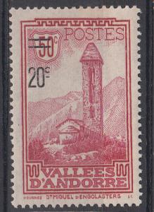Andorra (French) 64 Y&T 46 MLH F/VF 1935 SCV $18.50
