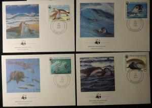 mauritania 1986 WWF mediterranean monk seal 4 values FDC superb used