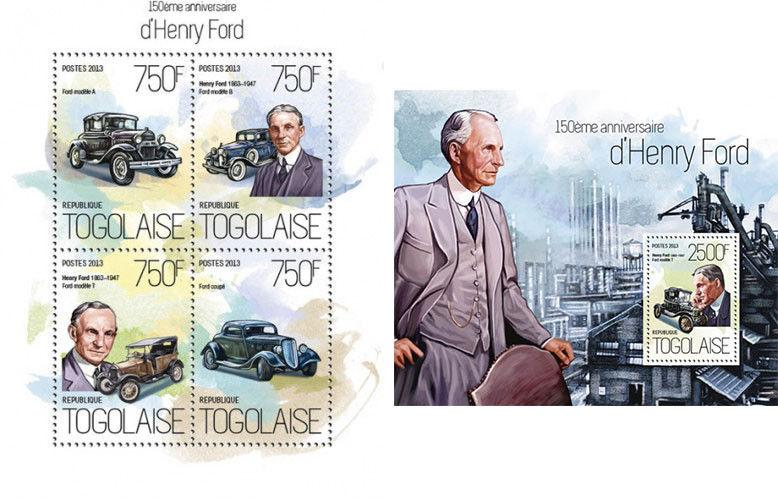Henry Ford Cars Autos Motor Vehicles Transport Togo MNH stamp set