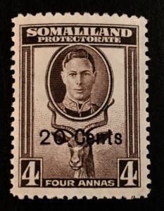 Somaliland Protectorate Scott 119 KGVI 20 Cent Overprint-Mint NH