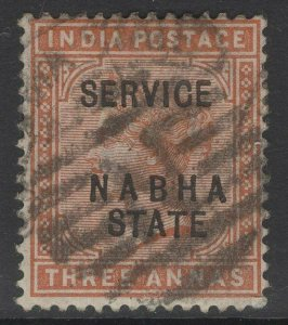 INDIA-NABHA SGO12 1885 3a BROWN ORANGE USED FORGED OVERPRINT