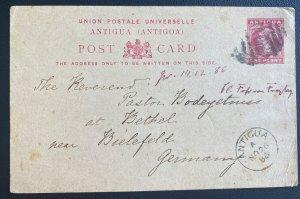 1886 Antigua Postal Stationery Postcard Cover To Bielefeld Germany