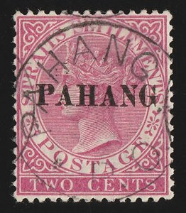MALAYA - Pahang : 1890 QV 2c, SG type 3, with CERTIFICATES.