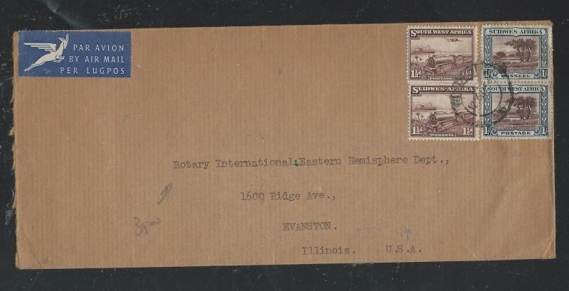 SOUTH WEST AFRICA  (P2504B) 1 1/2D TRAIN PR+1/- PR ON A/M COVER TO USA