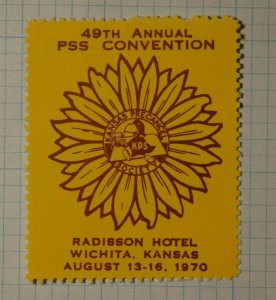 PSS Convention Wichita KS 1970 Radisson Hotel Philatelic Souvenir Ad Label