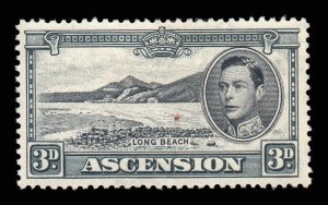 Ascension 1938 KGVI 3d grey perf 13½ SG 42a mint