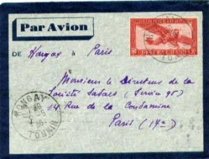 Indochina 36c Airplane Envelope 1936 Hongay, Tonkin Airmail to Paris, France.