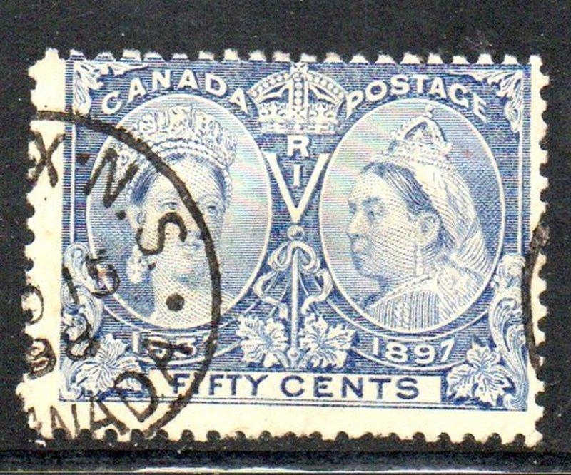 Canada Sc 60 1897 50c Victoria Jubilee stamp used Halifax cancel