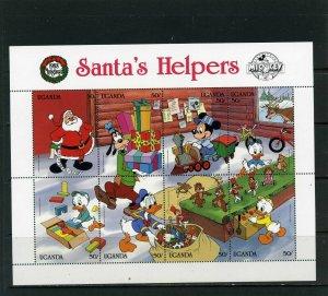 UGANDA 1988 DISNEY CHRISTMAS SANTAS HELPERS SHEET OF 8 STAMPS MNH