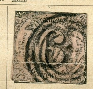 GERMANY THURN & TAXIS; 1852 early classic Imperf issue used 6k. value