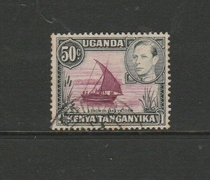 KUT GV1 1938/54 Defs 50c, Rope joined to sail, EXTENSION TO ROPE, Used SG 144Var