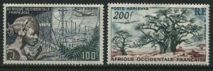 French West Africa Airmails 100 and 200 francs mint o.g. hinged