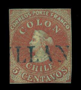 CHILE 1855 COLUMBUS - London print - 5c red brown Scott # 5 used CHILAN cancel
