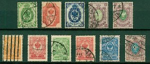 Finland 1901/11 range of issues similar to Russian types but values FU Stamps