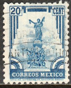 MEXICO 715, 20c INDEPENDENCE MONUMENT 1934 DEFINITIVE USED. F-VF (537)
