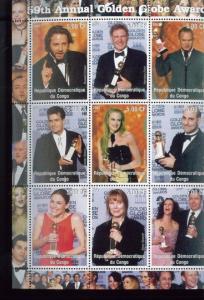 59th Golden Globe Awards Hollywood Commemorative Souvenir Stamp Sheet Congo E58