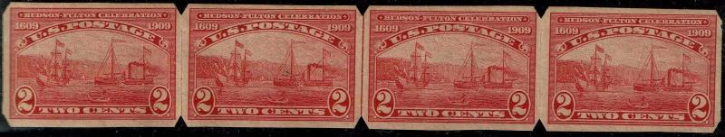 #373 LINE STRIP OF 4 TYPE II U.S.AUTOMATIC VENDING 1909 IMPERF ISSUE MINT-NH