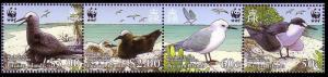 Pitcairn WWF Seabirds Strip of 4v SG#724-727 MI#717-720 SC#647a-d
