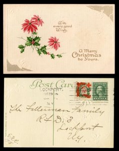 US #424 or 462 on POSTCARD with tied CHRISTMAS SEAL,  quite neat, SUPER SANTA...