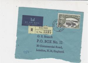 Brunei 1967 Airmail Registered Brunei Stamps Cover FRONT Ref 33230