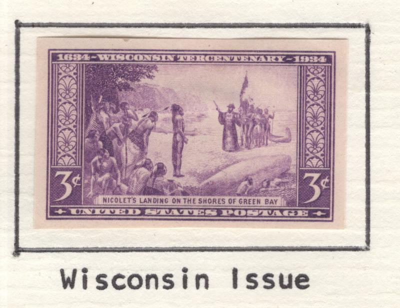 US 1935 Wisconsin Tercentenary Imperf 3c Stamps Scott 755 MH