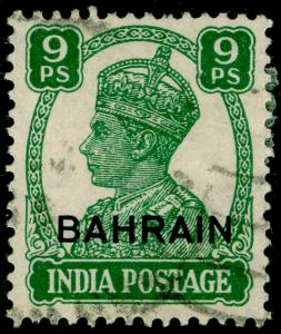 BAHRAIN SG40, 9p green, USED. Cat £24.