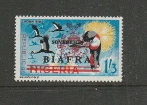 Biafra 1968 Opts on Nigeria 1/3 Bird LMM SG 12
