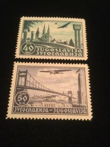 Yugoslavia Airmail Stamps Scott #C15 & C16 Mint Never Hinged XFine!