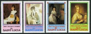 St Lucia 573-576,577,MNH.Michel 568-571,Bl.32. Decade of Women,1981. Paintings.