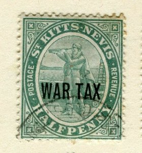 ST.KITTS; 1916 early WAR TAX issue fine used Columbus issue 1/2d. value