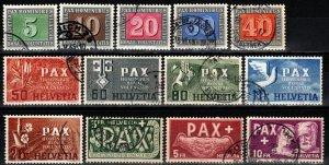 Switzerland #293-305 F-VF Used CV $806.00 (X1169)