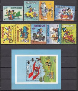 Z2957 1980 antigua mnh set + s/s #562-71 disney cartoons