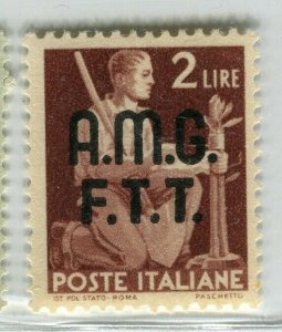 ITALY; TRIESTE 'Zone A' AMG. FTT Optd. 1945 pictorial issue Mint hinged 2L.