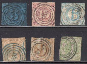 Germany (Southern District) #48, 51, 54, 55 x 2, 60 USED and all with usual faul