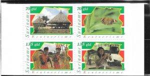 Surinam #1040-1044a Ecotorusim Booklet pane of 4  (MNH)  CV $8.00