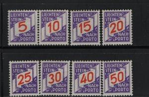 LIECHTENSTEIN J13-J20 (8) Set, Hinge Remnant, 1928 Postage Due Stamps