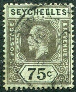 SEYCHELLES-1918 75c Black/Blue-Green (olive back) Sg 93 FINE USED V48890